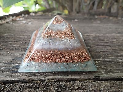 Extra Large LG 70mm Sodalite Orgone Crown Chakra Pyramid EMF Protection FengShui