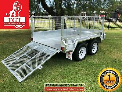 8x5 Trailer Tandem Galvanised Ramp 600mm Mesh Cage Box 2000kgs ATM Heavy Duty