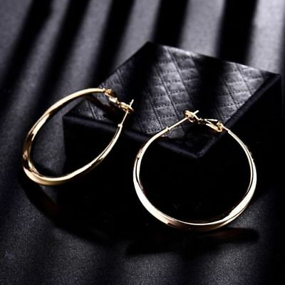 """Beautiful New 18k Yellow Gold Filled Twisted Round 1.5"""" Hoop Earrings"""