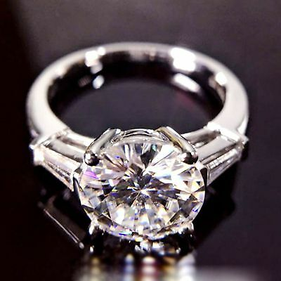 Certified 3Ct Round Moissanite 14K White Gold Solitaire Engagement Wedding ring