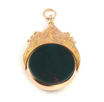 Antique 9Ct Gold Double Sided Bloodstone And Agate Spinning Fob c 1908