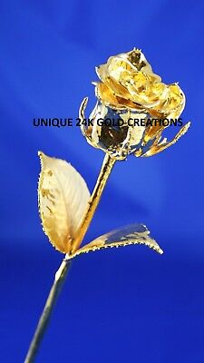 """Natural Rose Dipped In Pure 24K Gold Small (6"""") Valentine's Wife Girlfriend Gift"""