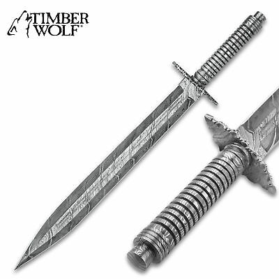 "20"" TIMBER WOLF Mesopotamia Damascus Steel FIXED BLADE LONG KNIFE"