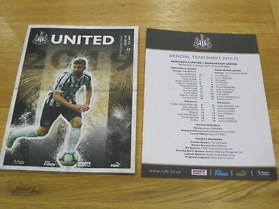 Newcastle v Manchester United Matchday Programme New c/w Team Sheet 2.1.2019