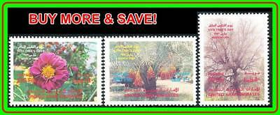 United Arab Emirates (Uae) 1989 Arbor Day Sc#278-80 Mnh Flowers Dates, Palm Tree