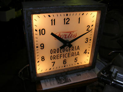 Fortis Clock- Rare Vintage Large Shop Sign- With   Light-  -Swiss Made-Year '40