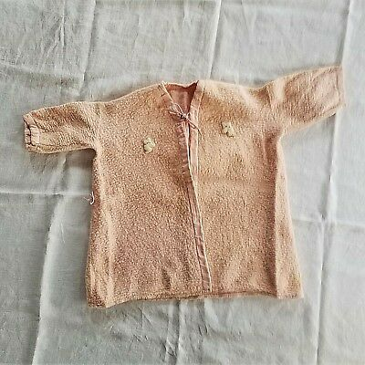 60's Vintage Girl's Peach Fleece Acrylic Robe, Used, Hand Appliques, Approx 2T