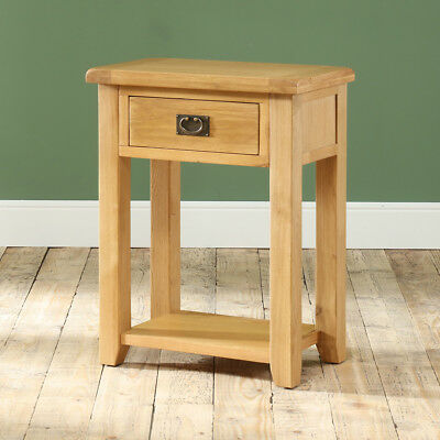 Hereford Rustic Oak 1 Drawer Telephone Hall Table - Living Room Furniture - HR17