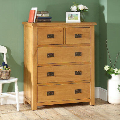 Hereford Rustic Oak 2 over 3 Drawer Tall Chest - Bedroom Furniture - HR03