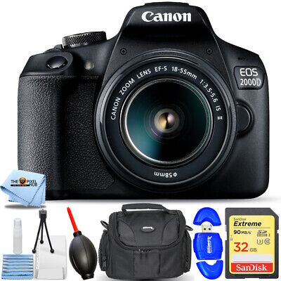 Canon EOS 2000D / Rebel T7 with 18-55mm IS II Lens STARTER BUNDLE