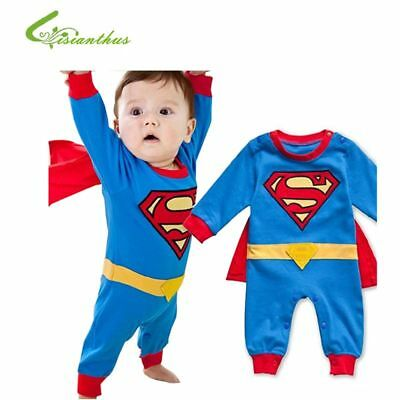 Baby Infant Toddler Boy Superman Super Heroes Cosplay Costume Romper Clothing