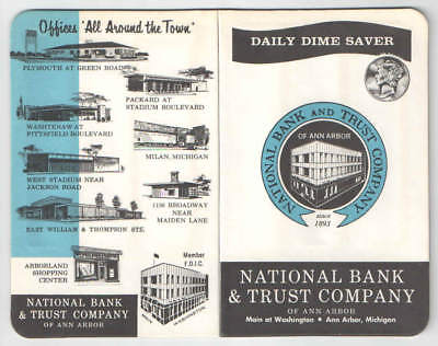 1941 Daily Dime Saver Card National Bank And Trust Company of Ann Arbor Michigan