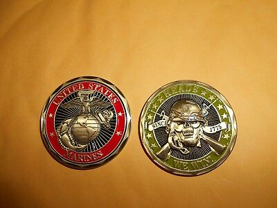2 CHALLENGE COIN tokens HEADS WE WIN TAILS YOU LOSE & Marines First Strike Deadl