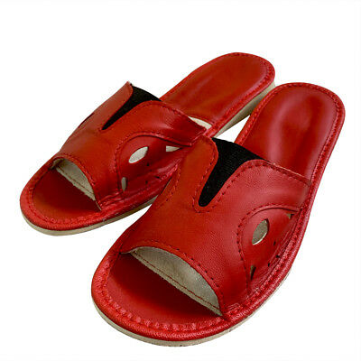 Genuine leather open toes wide fit women slippers red plus sizes 4 5 6 7 8 9