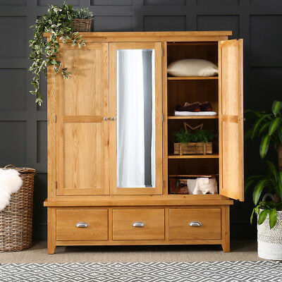Cheshire Oak Triple 3 Door Mirrored Wardrobe with 3 Drawers - Furniture - AD23
