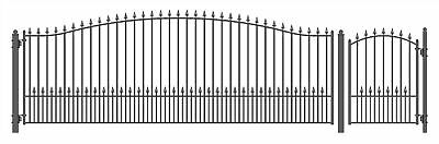 ALEKO Steel Swing Single MUNICH Style Driveway Gate 18 ft with Pedestrian Gate