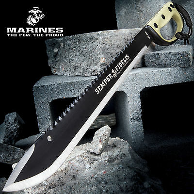 "24"" USMC Semper Fi SURVIVAL SAWBACK Full Tang MACHETE Fixed Blade Knife NEW"