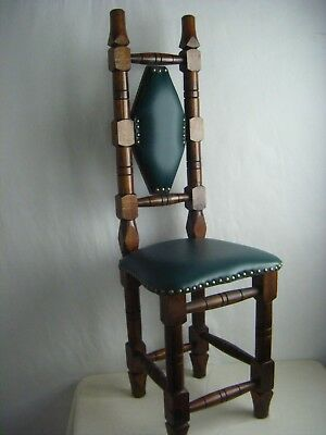 Antique Spanish/Mexican Jacobean Small High Back Praying Chair, refurbished seat