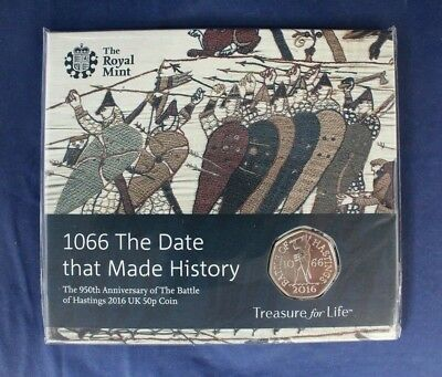 "2016 Royal Mint 50p coin pack ""Batlle of Hastings"" - Factory Sealed    (C8/36)"