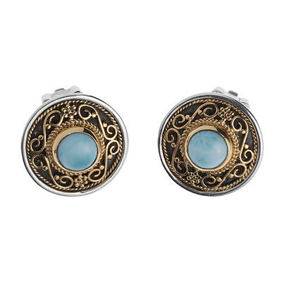 Savati ~ 22K Solid Gold & Sterling Silver Byzantine Round Clip Earrings