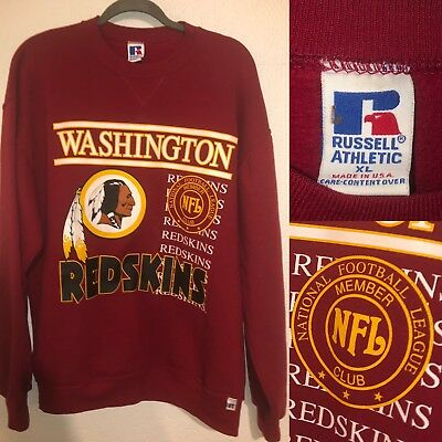 VTG 90 s Russell Athletic USA Made REDSKINS Football NFL MEMBERS Club  Sweatshirt bf9506cc7b390