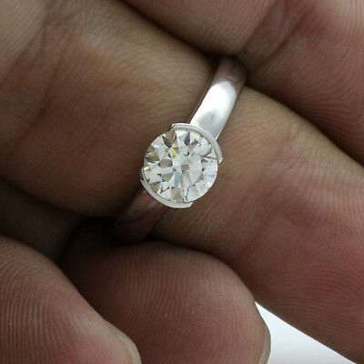 Round Brilliant Diamond Ring Certified 2.08 Ct Si2 Lady 14K White Gold Solitaire