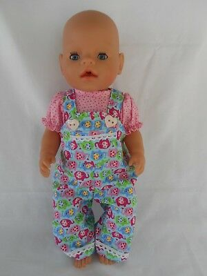Handmade dolls clothes (Overalls, blouse set) fit 40-43cm 17in Baby Born doll