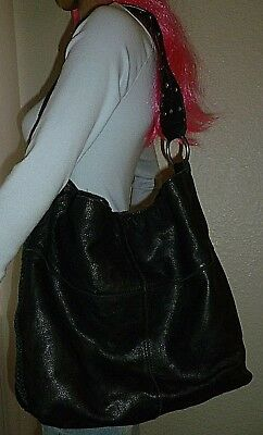 LUCKY BRAND X Large Black Leather Super Slouchy Hobo Bag Shoulder Bag Purse 95ad58b9a0b6e