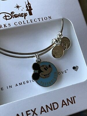 Disney Parks Alex and Ani Mickey Annual Passholder Silver Bangle Bracelet NEW