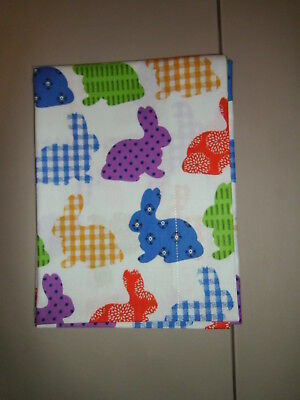 1-Decorated Easter Bunnies on White Standard Size Pillowcase   New & Handmade!