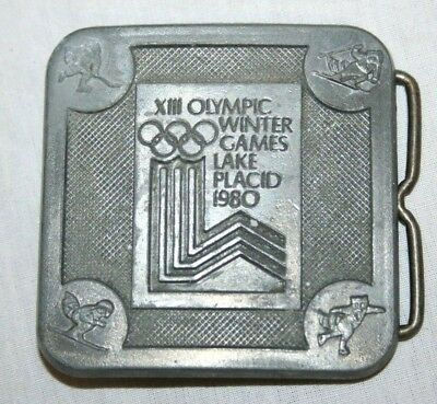 Vintage Olympic Winter Games Lake Placid 1980 Belt Buckle Metal True Distance