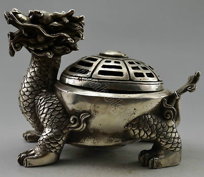 Collectible Decorated Old Handwork Miao Silver Dragon Tortoise Incense Burner