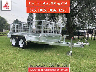 8x5 GALVANISED TANDEM TRAILER ELECTRIC BRAKES ATM 2800KGS 600mm MESH CAGE BRAKE