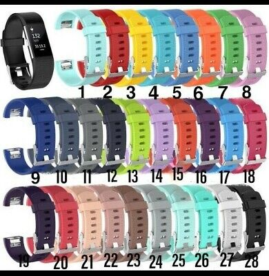 Soft Silicone Replacement wristband Strap for Fitbit Charge 2 sml&lge UK STOCK