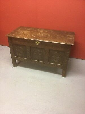 Antique 18th C Oak Coffer / Blanket Box Sn-82a