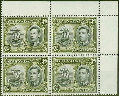 Grenada 1938 3d Black & Olive-Green SG158 P.12.5 V.F MNH Corner Block of 4
