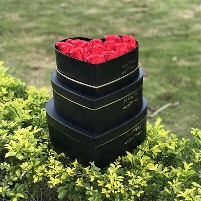 3 x Heart Shape Luxury NEW STYLE  Florist Hat Boxes Mother's Day GIFT