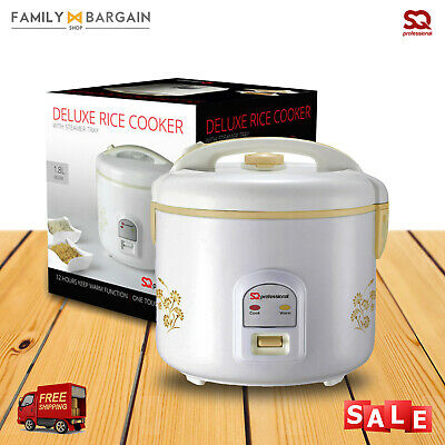 SQ Professional Rice Cooker Steamer Stainless Steel One Touch Operations 1.8L