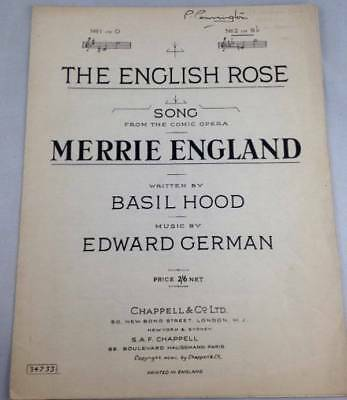 Antique Sheet Music English Rose From Merrie England Comic Opera 1902 Chappell
