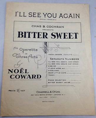Antique Sheet Music Ill See You Again Bitter Sweet Noel Coward 1929 Song Version