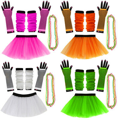 Neon Tutu Skirt Set 80S Fancy Dress Leg Warmers Fishnet Gloves Beads Costume