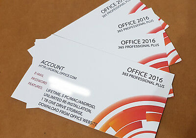 Esd Digital Delivering - 1X Office 2016 Pro Plus (365Account) Lifetime 5 Pc Mac