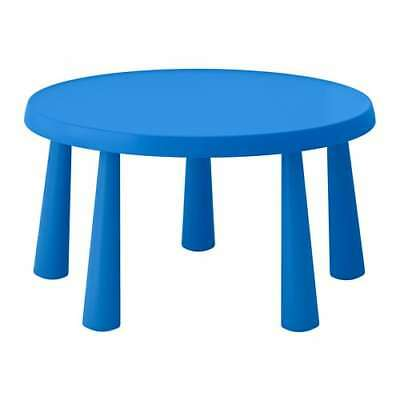 Ikea Mammut Blue Childrens Kids Garden Indoor Outdoor Table Chairs Round Chairs