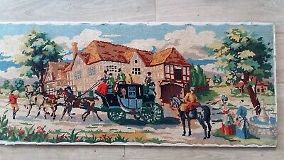 "Handworked completed tapestry ""THE COACH INN"" 108cm x 45cm (approx 42""x 18"")"