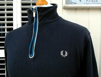 """Fred Perry Navy Tipped Zip-Neck Jumper - L/XL - 44"""" - Ska Mod Scooter Casuals"""