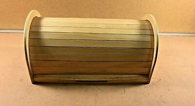 Kamenstein Bread Box Vintage Bamboo/Maple Wood E-Z Roll Top