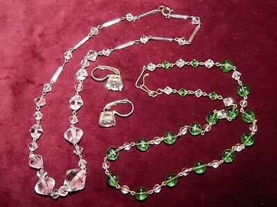 VINTAGE ART DECO 2 x GREEN & CLEAR GLASS NECKLACES + EARRINGS ~ RG WIRES c1930's