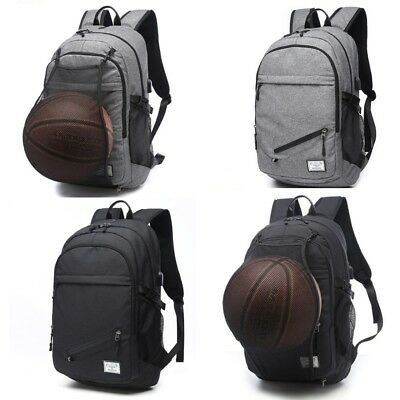 cece56c3139b Backpack Canvas School Bag USB Charger Port Basketball Net Laptop Student  Travel