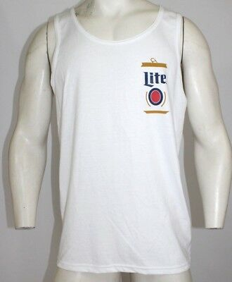 b17a3209f99a9 Miller Lite Official Licensed Beer Can Men s Tank Top - White - MEDIUM
