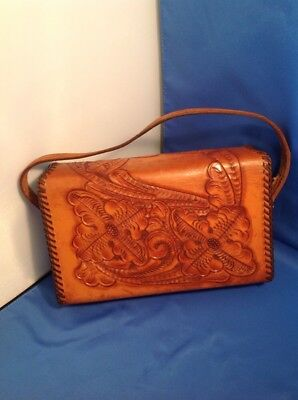 VINTAGE HAND TOOLED Leather Purse-Intricate Floral Pattern circa ... 1ca34e66ed